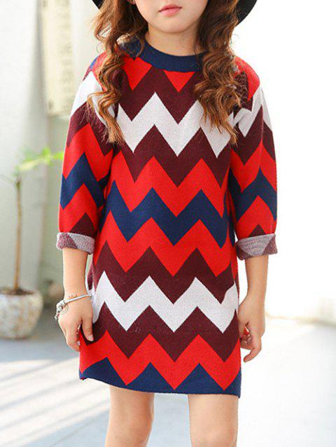 Crew Neck Chevron Rayé Robe - Rouge 170