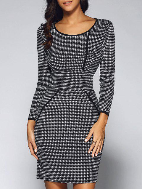 1ad15928 41% OFF] 2019 Houndstooth Long Sleeve Sheath Work Business Dress In ...