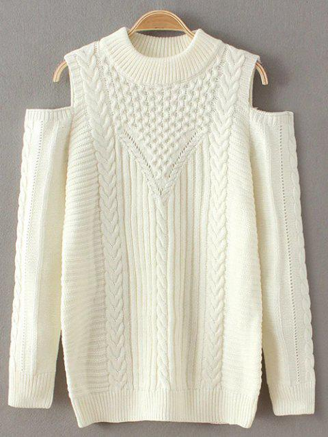Round Neck Cold Shoulder Knitted Sweater - WHITE ONE SIZE