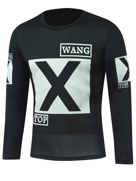 Round Neck Long Sleeve Letter Printed T-Shirt - BLACK 2XL