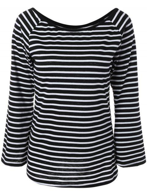 Off the Shoulder Flare Sleeve Striped T-Shirt - WHITE/BLACK S