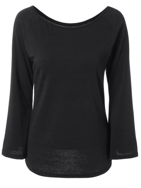 Off the Shoulder Flare manches Fitting T-shirt - Noir M