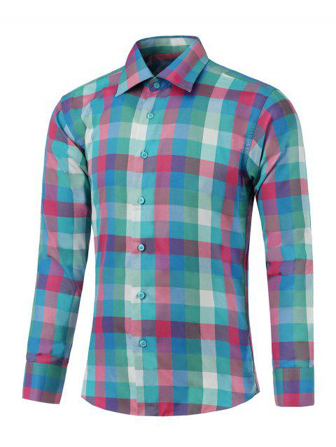 Long Sleeve Button Up Colorful Grid Shirt - COLORMIX 4XL