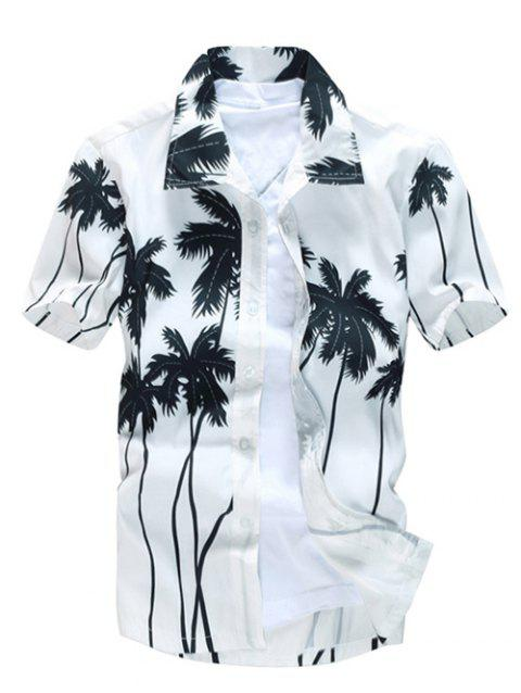 Short Sleeve Tree Printed Hawaiian Shirt - WHITE XL