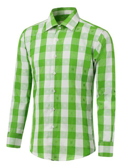 Button Up Two-Tone Checked Shirt - GREEN L