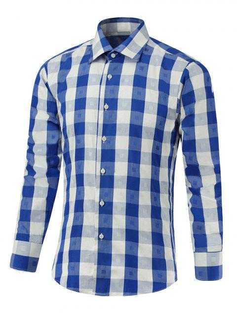 Button Up Two-Tone Checked Shirt - BLUE 2XL