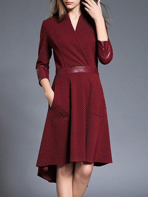 Polka Dot Asymétrique Robe de cocktail - Vin rouge S