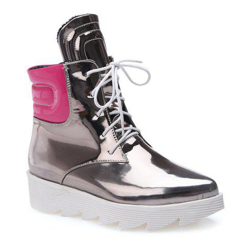 Lace Up Stitching Short Boots - SILVER 39