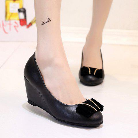 PU Leather Metal Bowknot Wedge Shoes - BLACK 37