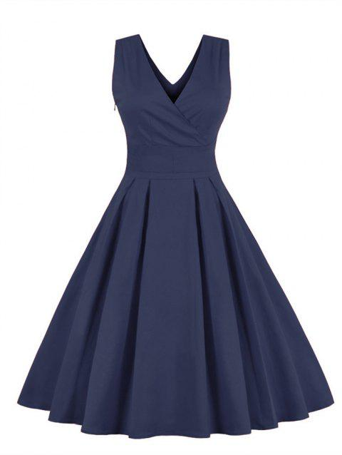 Retro Sleeveless Tea Length Party Dress - PURPLISH BLUE 3XL