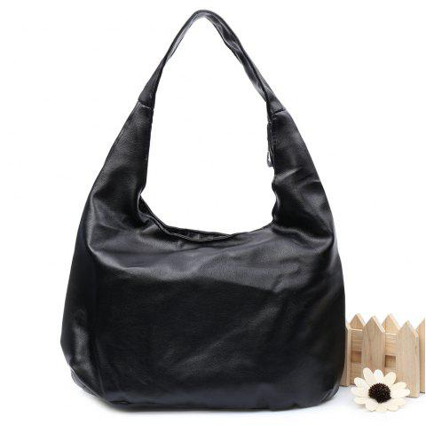 Stylish PU Leather and Black Colour Design Women's Shoulder Bag - BLACK
