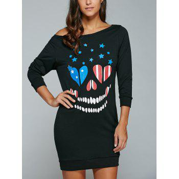 Print Skew Neck Sweatshirt Dress