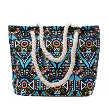 Ethnic Style Tribal Print and Color Block Design Beach Shoulder Bag