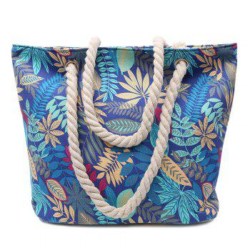 Casual Leaf Print and Canvas Design Women's Shoulder Bag