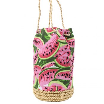 Leisure Watermelon Print and Weaving Design Women's Shoulder Bag