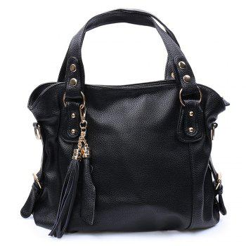 Trendy Solid Color and Tassels Design Women's Tote Bag
