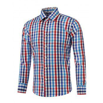 Long Sleeve Color Splicing Checked Shirt