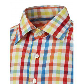 Color Splicing Long Sleeves Plaid Shirt - LIGHT YELLOW LIGHT YELLOW