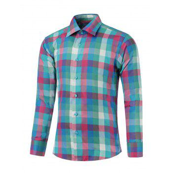 Long Sleeve Button Up Colorful Grid Shirt