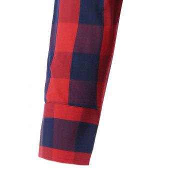 Color Spliced Long Sleeve Checked Shirt - RED XL