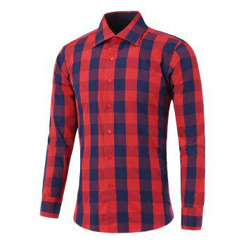Color Spliced Long Sleeve Checked Shirt - RED RED