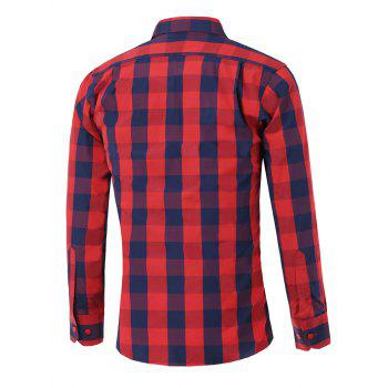 Color Spliced Long Sleeve Checked Shirt - RED L