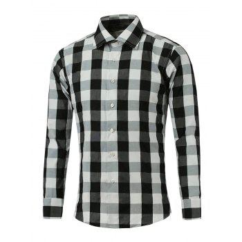 Color Spliced Long Sleeve Checked Shirt - BLACK BLACK