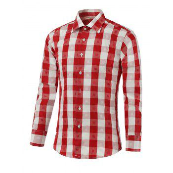 Button Up Two-Tone Checked Shirt - RED RED