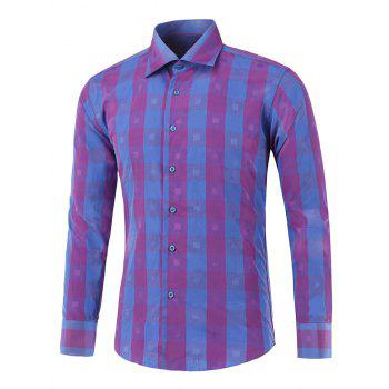 Button Up Two-Tone Checked Shirt - PURPLE PURPLE