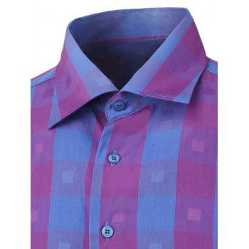 Button Up Two-Tone Checked Shirt - PURPLE XL
