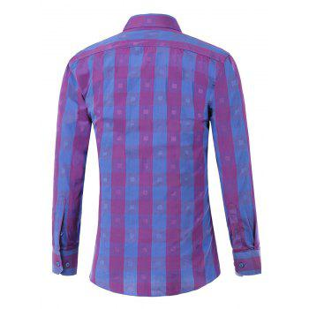 Button Up Two-Tone Checked Shirt - PURPLE XS
