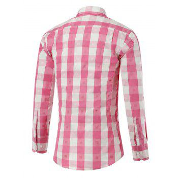 Button Up Two-Tone Checked Shirt - PINK XS