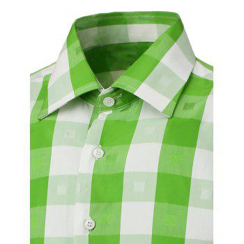 Button Up Two-Tone Checked Shirt - GREEN GREEN