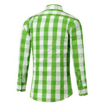 Button Up Two-Tone Checked Shirt - GREEN M