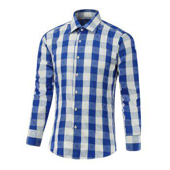 Button Up Two-Tone Checked Shirt - BLUE BLUE