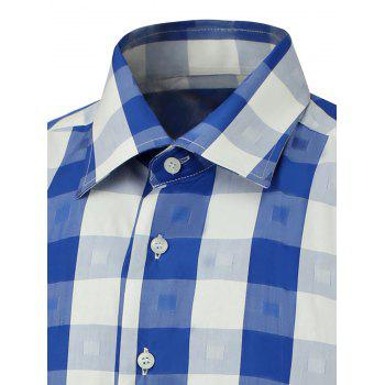 Button Up Two-Tone Checked Shirt - BLUE XL
