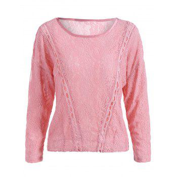 Long Sleeve Hollow Out Lace Blouse