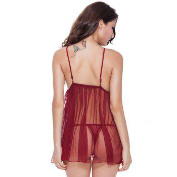 Laciness Bowknot Mesh Babydoll - WINE RED XL