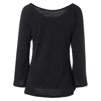 Off the Shoulder Flare manches Fitting T-shirt - Noir XL