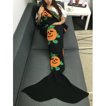 Multicolor Halloween Pumpkin Crochet Knitting Mermaid Tail Style Blanket