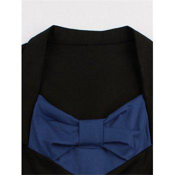 Bowknot Panel Flare Rockabilly Swing Dress - PURPLISH BLUE XL