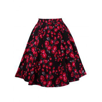 Floral Print Zippered Skirt
