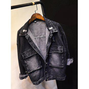 Frayed Bleach Wash Jean Jacket