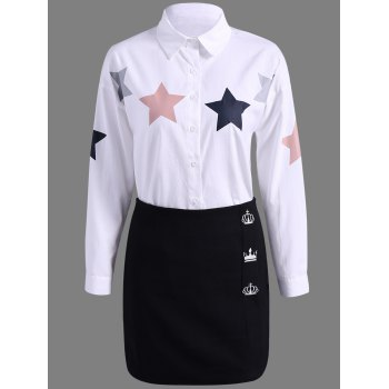 Star Print Shirt + High Waist Slimming Skirt Twinset - WHITE WHITE