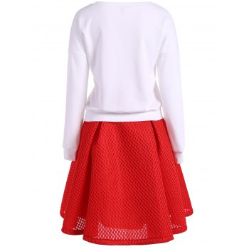 Stereo Floral Embellished Sweatshirt + High Waist Texture Skirt Twinset - WHITE L
