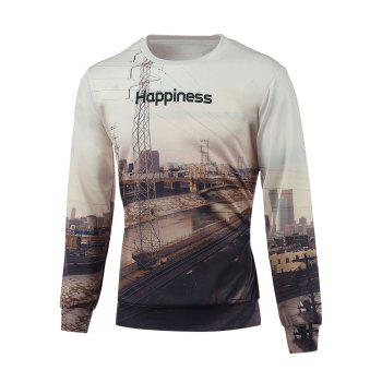 3D Print Crew Neck Long Sleeves Sweatshirt