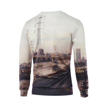 3D Print Crew Neck Long Sleeves Sweatshirt - OFF WHITE L