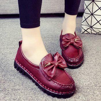 Metal PU Leather Bowknot Flat Shoes