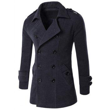 Epaulet Design Slit Back Long Sleeve Peacoat