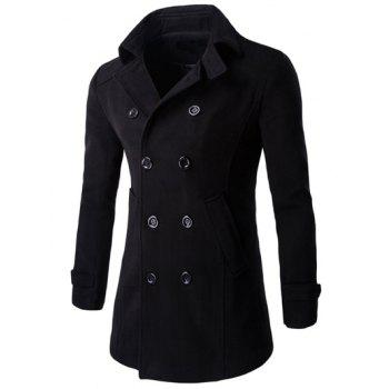Button Cuff Half Back Belt Long Sleeve Peacoat